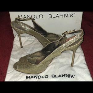 Manolo Blahnik heels. Brillis Platino. Size 40
